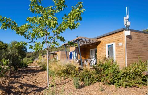 Location mobil home avec terrasse Lumio4